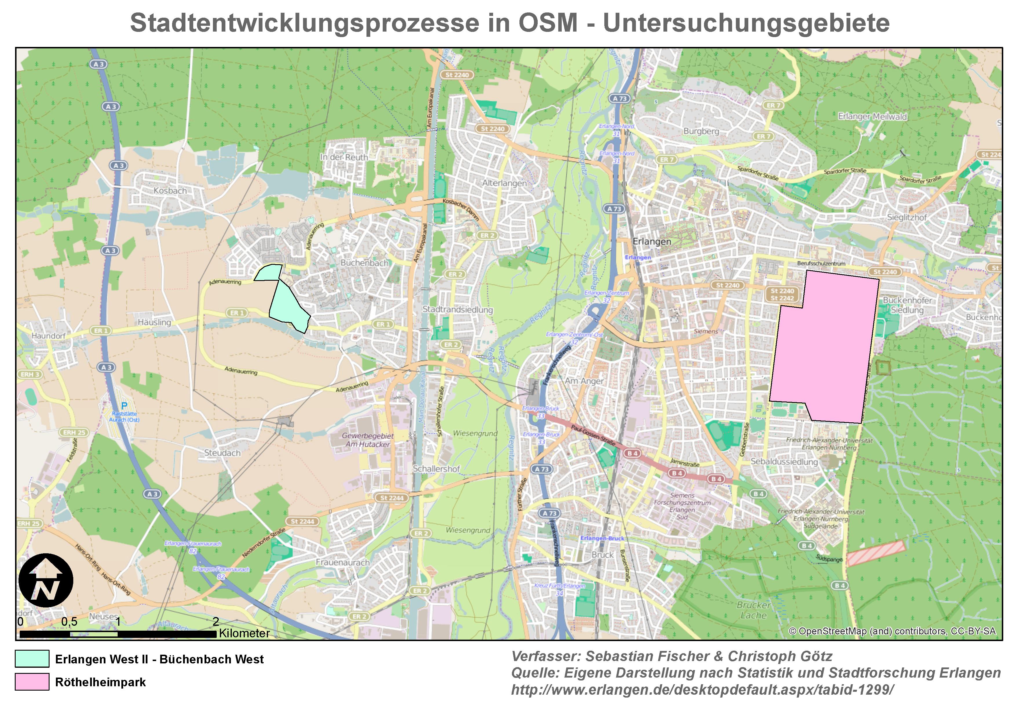 Stadtentwicklungsprozesse in OSM - Untersuchungsgebiete