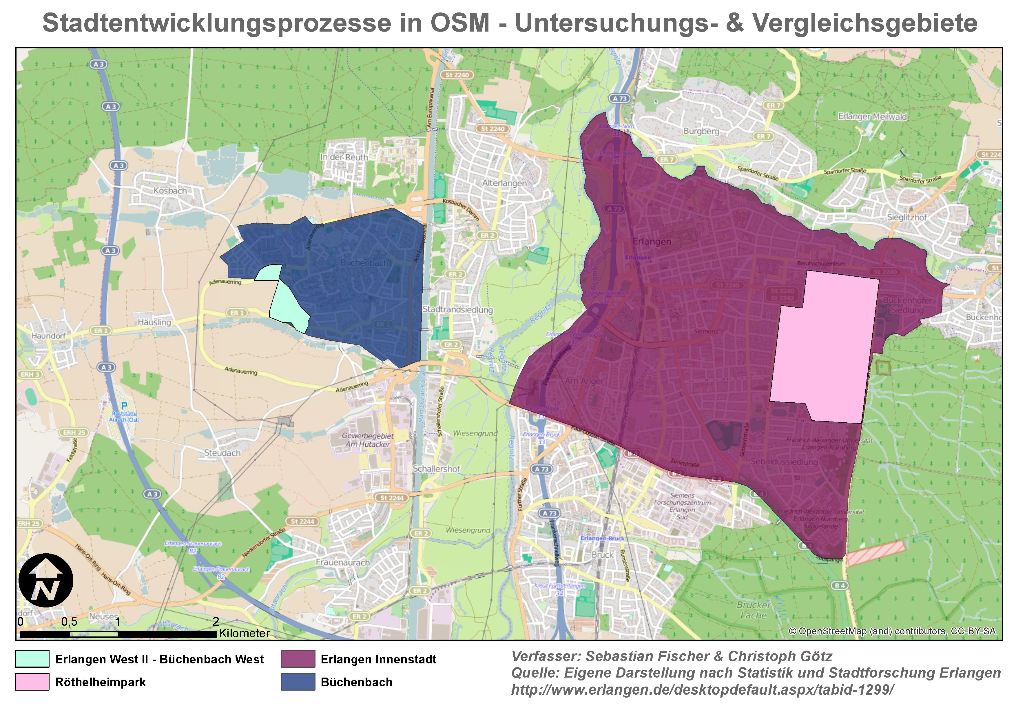Stadtentwicklungsprozesse in OSM - Untersuchungs- und Vergleichsgebiete