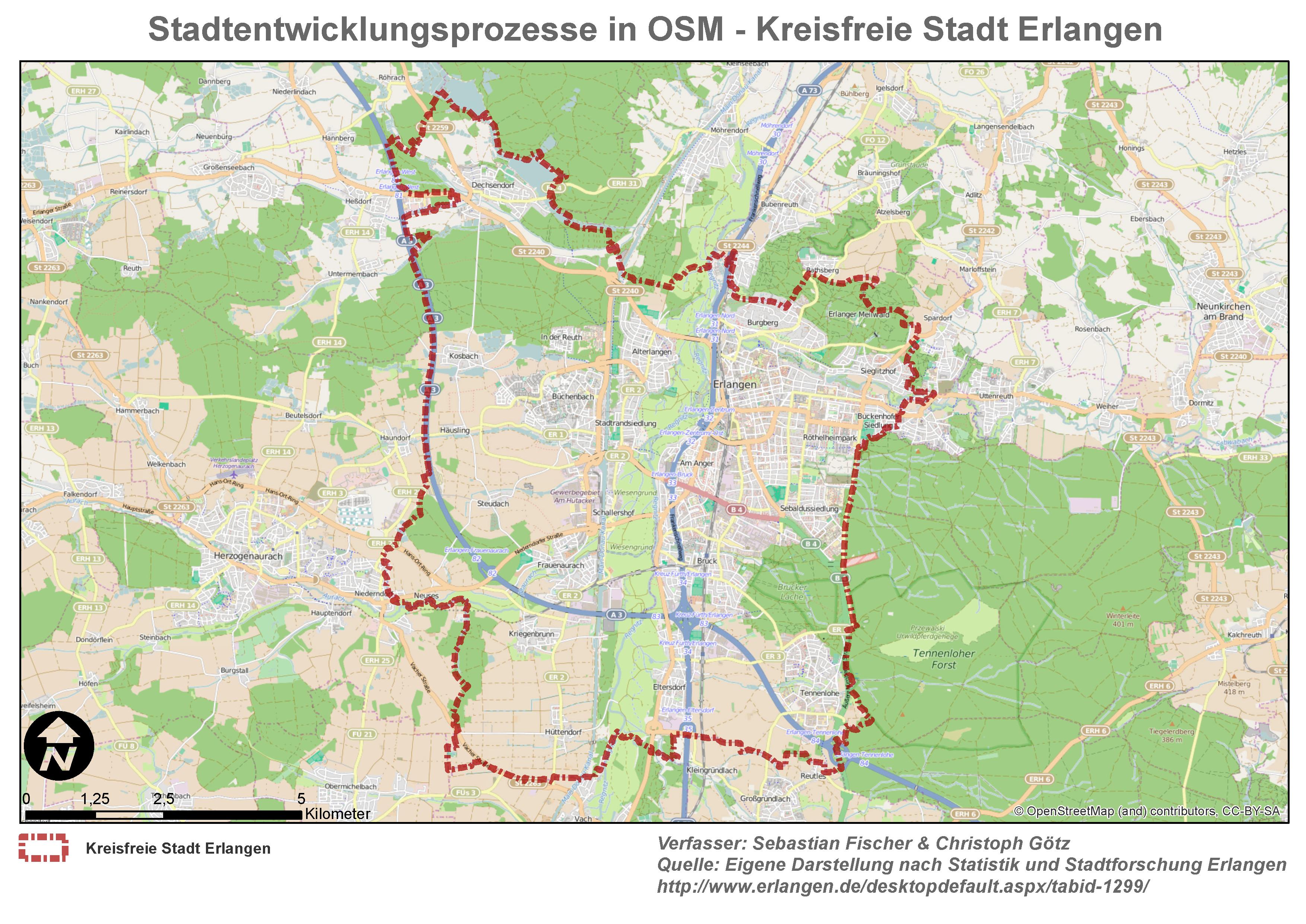Stadtentwicklungsprozesse in OSM - Kreisfreie Stadt Erlangen